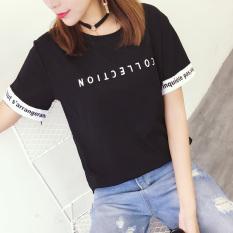Longgar Korea Fashion Style Katun Putih Siswa Baju Kaos T-shirt (Hitam)