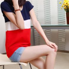 Longgar Korea Fashion Style Katun Warna Solid Perempuan Baju Atasan Wanita Baju Dalaman (Merah) baju wanita baju atasan kemeja wanita blouse wanita