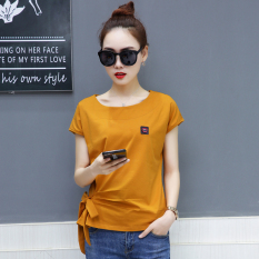 Longgar Korea Modis Gaya Katun Warna Polos Wanita Kemeja Kecil Kaos (Khaki)