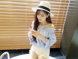 Cara Beli Longgar Korea Fashion Style Kerah Datar Strapless Bagian Belakang Lengan Terompet Kemeja Gambar Warna Baju Wanita Baju Atasan Kemeja Wanita Blouse Wanita