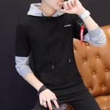 Jual Sweater Bertudung Pria Lengan Panjang Pulover Versi Korea Hitam Hitam Branded