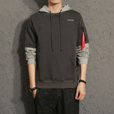Toko Longgar Korea Fashion Style Laki Laki Berkerudung Bagian Tipis Tutup Kepala Hoodie Lengan Pendek Kaos Sweater Abu Abu Gelap Baju Atasan Sweter Pria Lengkap Di Tiongkok