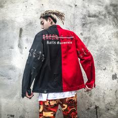 Dimana Beli Longgar Korea Fashion Style Laki Laki Hip Hop Musim Semi Jeket Denim Hip Hop Jas Merah Dan Hitam Warna Oem