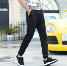 Longgar Korea Modis Gaya Laki-laki SMA Siswa Celana Pensil Sembilan Poin Celana (Corak Garis Tali Kulit)