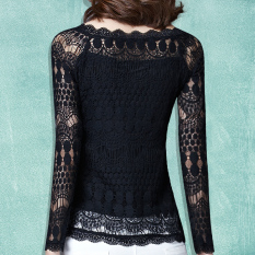 Harga Modengmeimei Korea Fashion Style Lengan Panjang Baru Berongga Kemeja Renda Kemeja Sifon Lengan Panjang Hitam Baru