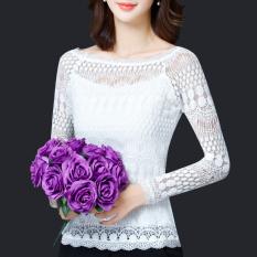 Modengmeimei Korea Fashion Style Lengan Panjang Baru Berongga Baju Dalaman Kemeja Sifon (Lengan panjang putih) baju wanita baju atasan kemeja wanita blouse wanita