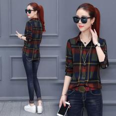 Longgar Korea Fashion Style Lengan Panjang Wanita Atasan Motif Kotak Diagonal Kemeja (Kotak-kotak Merah)