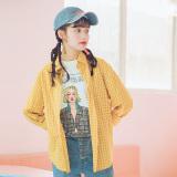 Spesifikasi Longgar Korea Fashion Style Lengan Panjang Wanita Siswa Motif Kotak Diagonal Jas Baru Kotak Kotak Kemeja Kuning Oem Terbaru