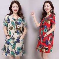 Daftar Harga Longgar Korea Fashion Style Linen Bagian Panjang Warna Modis Gaun Biru Bawah Bunga Kain Linen Gaun Oem
