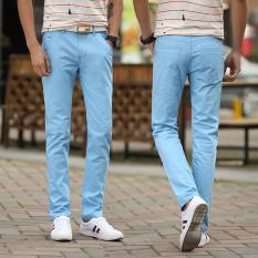 Longgar Korea Modis Gaya Muda Ramping Celana Pria Pria Kasual Celana (Langit