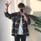 Beli Longgar Korea Fashion Style Musim Gugur Lengan Panjang Angin Kotak Kotak Kemeja 904 Hitam Lengkap