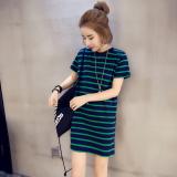 Harga Longgar Korea Fashion Style Musim Panas Setengah Panjang Model Bergaris T Shirt Rok Hijau Yg Bagus