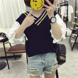 Ulasan Longgar Korea Fashion Style Musim Panas Siswa Lengan Pendek T Shirt Hitam Baju Wanita Baju Atasan Kemeja Wanita