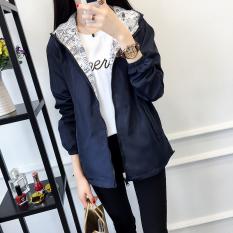 Toko Longgar Korea Fashion Style Musim Semi Dan Musim Gugur Perempuan Gaun Jaket Angin Baru Jas Biru Tua Lengkap Tiongkok