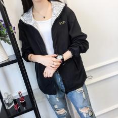 Longgar Korea Modis Gaya Musim Semi atau Musim Gugur Perempuan Gaun Jaket Angin Baru Jas (Hitam Ukuran Terlalu Gede) baju Wanita Jaket Wanita