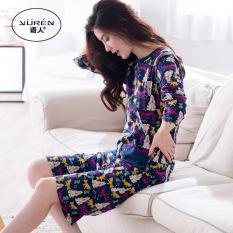 Longgar Korea Fashion Style Musim Semi Dan Musim Gugur Wanita Ukuran Besar Seksi Baju Rumah Baru Gaun Tidur (A6445 Bagan Warna)