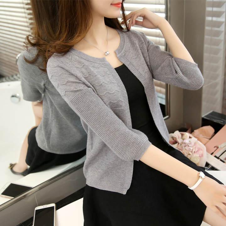 Longgar Korea Fashion Style Musim Semi Dan Musim Panas Baru Sweter (Abu-abu)