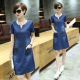Toko Longgar Korea Fashion Style Musim Semi Dan Musim Panas Perempuan Baru Koboi Gaun Biru Lengan Pendek Baju Wanita Dress Wanita Gaun Wanita Terlengkap Tiongkok