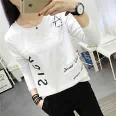 Jual T Shirt Lengan Panjang Wanita Gaya Korea Putih Putih Tiongkok