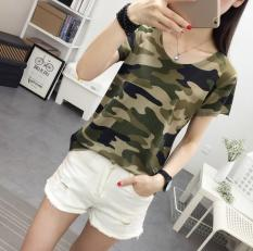 Jual Longgar Korea Fashion Style Perempuan Baru Lengan Pendek Kamuflase T Shirt Hijau Tentara Branded Murah