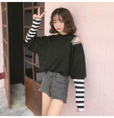 Beli Longgar Korea Fashion Style Perempuan Musim Gugur Angin Jahitan Atasan T Shirt Hitam Baju Wanita Baju Atasan Kemeja Wanita Tiongkok