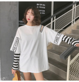 Beli Longgar Korea Fashion Style Perempuan Musim Gugur Angin Jahitan Atasan T Shirt Putih Baju Wanita Baju Atasan Kemeja Wanita Pakai Kartu Kredit