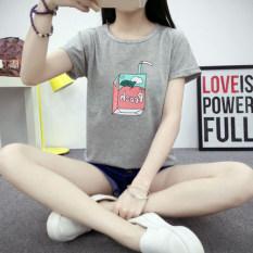 Beli Longgar Korea Fashion Style Perempuan Musim Panas Baru Baju Dalaman T Shirt 5145 Abu Abu Baju Wanita Baju Atasan Kemeja Wanita Kredit
