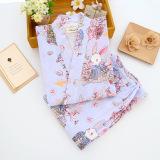 Cuci Gudang Longgar Korea Fashion Style Perempuan Musim Semi Dan Musim Gugur Katun Lengan Panjang Olahraga Kimono Baju Tidur Biru Gaya Jepang Berdoa Kelinci Celana Panjang Baju Tidur