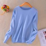 Longgar Korea Fashion Style Perempuan Pullover Kasmir Kemeja Leher Bulat Sweter Langit Biru Di Tiongkok