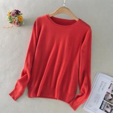 Diskon Longgar Korea Fashion Style Perempuan Pullover Kasmir Kemeja Leher Bulat Sweter Semangka Merah