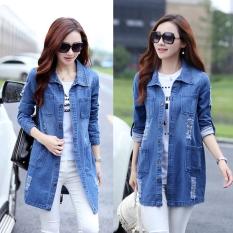 Beli Longgar Korea Fashion Style Perempuan Setengah Panjang Model Koboi Atasan Jeket Jeans Lengan Panjang Berkualitas Tinggi Model Kredit Tiongkok