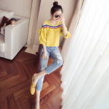 Spek Longgar Korea Fashion Style Perempuan Strapless Atasan T Shirt Kuning Tiongkok
