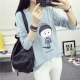 Beli Longgar Korea Fashion Style Perempuan Terlihat Langsing Kartun Dicetak Bottoming Kemeja Baru Lengan Panjang T Shirt 172 Light Blue Baju Wanita Baju Atasan Kemeja Wanita Cicilan