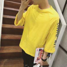 Longgar Korea Modis Gaya Pria Lengan Lengan Sedang Selutut Lengan (Kualitas Tinggi Lengan Kuning)
