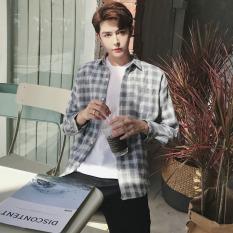 Harga Longgar Korea Fashion Style Pria Lengan Panjang Siswa Kemeja Kotak Kotak Kemeja Abu Abu Baru