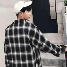 Diskon Produk Longgar Korea Fashion Style Pria Lengan Panjang Remaja Kemeja Kotak Kotak Kemeja Hitam