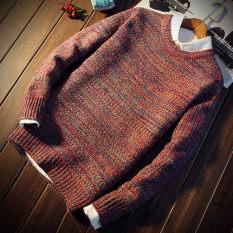 Beli Longgar Korea Fashion Style Pria Pullover Kemeja Rajut Kerah Tinggi Sweter A68 Merah Yang Bagus
