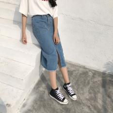 Rok Korea Fashion Style Di Bagian Panjang Pinggang Tinggi Rok Jeans Retro (Koboi Warna)