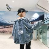 Jual Longgar Korea Fashion Style Siswa Perempuan Angin Bagian Tipis Jaket Angin Jeket Jeans Light Blue Murah Tiongkok