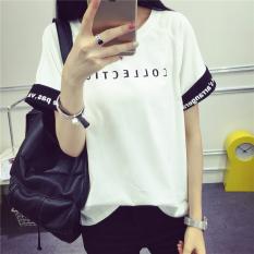 Toko Longgar Korea Fashion Style Siswa Perempuan Lengan Pendek Atasan Pinggir Keriting T Shirt Putih Baju Wanita Baju Atasan Kemeja Wanita Di Tiongkok
