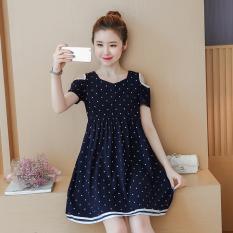 Longgar Korea Fashion Style Strapless Bagian Lengan Pendek Dan Panjang Gaun Baju Hamil Gaun (Biru Tua)