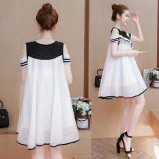 Longgar Korea Fashion Style Terlihat Langsing Strapless Baju Terusan Baru Sifon Gaun (Putih)