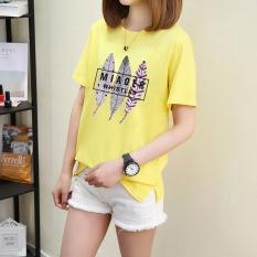 Longgar Korea Gaya Busana Ukuran Besar Lengan Pendek Lengan Pendek Kaos (Warna Kuning Emas)