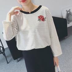 Kaos Korea Modis Gaya Musim Semi atau Musim Gugur Baju Dalaman Wanita Ukuran Besar (5017 Putih)