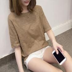 Longgar Korea Fashion Style Warna Solid Perempuan Leher Bulat Pakaian Wanita Baju Dalaman Kaos (Unta)
