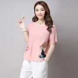 Jual Beli Longgar Korea Kain Linen Perempuan Yard Besar Atasan T Shirt Merah Muda Warna Baru Tiongkok