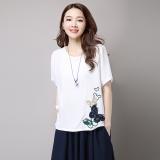Beli Longgar Korea Kain Linen Perempuan Yard Besar Atasan T Shirt Putih Pake Kartu Kredit