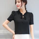 Harga Longgar Korea Putih Perempuan Lengan Pendek Modis Kemeja Sifon Kemeja Hitam Bergesper Lengan Baju Wanita Baju Atasan Kemeja Wanita Blouse Wanita Tiongkok