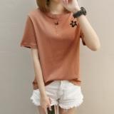 Spesifikasi Kaos Wanita Lengan Pendek Warna Netral Motif Bordir Kerah Bulat Bahan Katun Murni Gaya Hongkong 274 Batu Bata Merah Lengkap