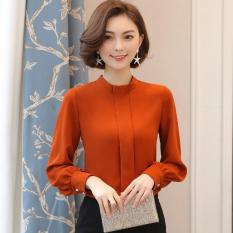 Longgar Lengan Panjang Perempuan Kemeja Jersey Rayon Baju Dalaman (Warna Karamel)
